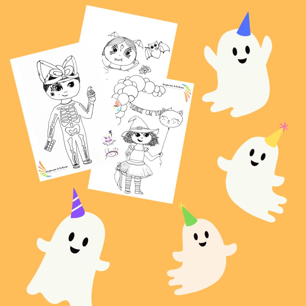 Télécharger trois coloriages halloween gratuits enfant déguisé en sorcière, enfant déguisé en squelette, enfant déguisé en vampire chauve souris