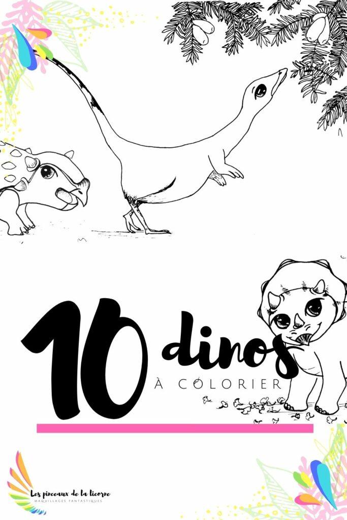 Dix coloriages dinosaures à télércharger gratuitement coloriage dino gratuit  ankylosaure tricératops sinosauroptéryx